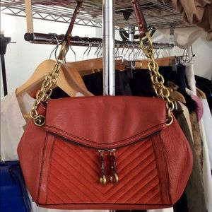 Banana Republic Red Orange Leather Suede Purse